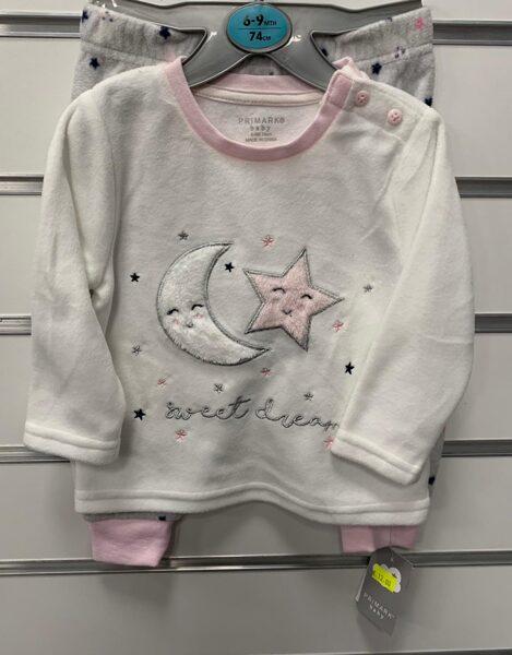 Pidžama 6-9 mēn./74cm/Garroku, balta ar rozā apkakli, ar zvaigzni un mēnesi plus garās bikses ar zvaigznēm.