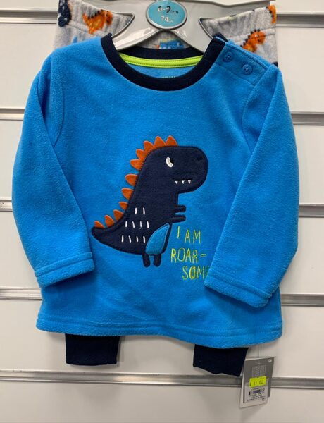 Pidžama 6-9 mēn./74cm/Garroku, zila augša ar dinozauru plus garās bikses, tumšas.