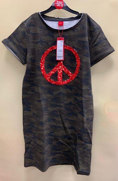 s.Oliver kleita/īsās piedurknes/12-13 gadi/Armijas krāsās/ ar simbolu vidū.