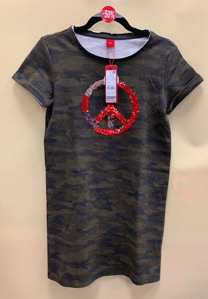 s.Oliver kleita/īsās piedurknes/11-12 gadi/Armijas krāsās/ ar simbolu vidū.