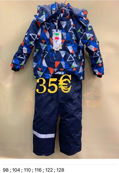 Kombinzons puišu atsevišķais/silta ziema/sintepons/Zila jaka ar oranžiem elementiem/bikses zilas 128 cm