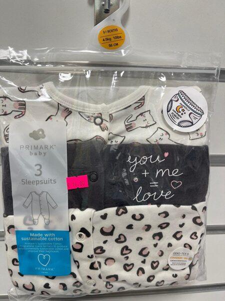 Pidžamas (slipiji) 3gb/0-1 mēn./56cm/Balts ar kaķiem+Melns-you+me=love+Balts ar sirsniņām.