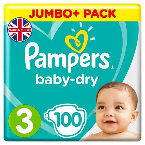 Pampers Baby-dry 3.izm 100 gab. (6-10kg)