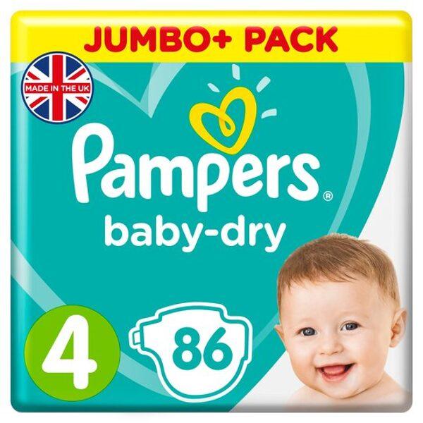 Pampers Baby-dry 4.izm. 86 gab. (9-14kg)