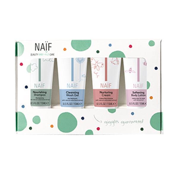 Naïf Baby & Kids komplekts/Šampūns+Dušas želeja+Krēms dibenam+Ķermeņa losjons