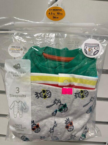 Pidžamas (slipiji) 3gb/0-1 mēn./56cm/Zaļš+Svītrains+Pelēks ar ananasiem.