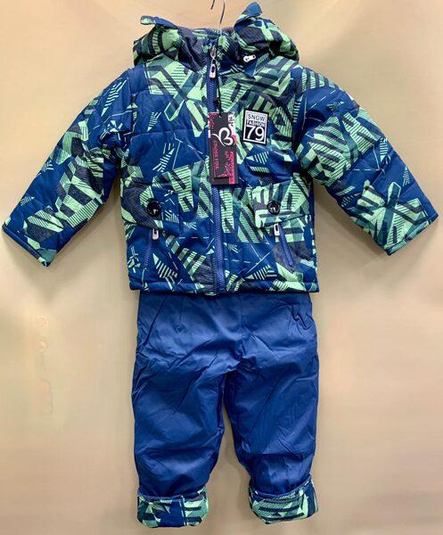 Kombinzons puišu atsevišķais/silta ziema/zila jaka ar zaļu print/zilas bikses 18 m 92 cm